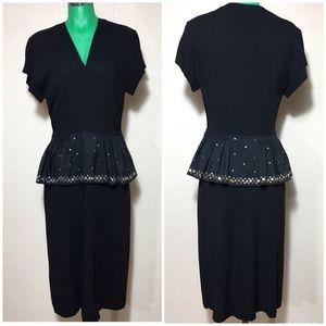 Vintage 40's - 50's Roy Bjorkman Black Dress Stars